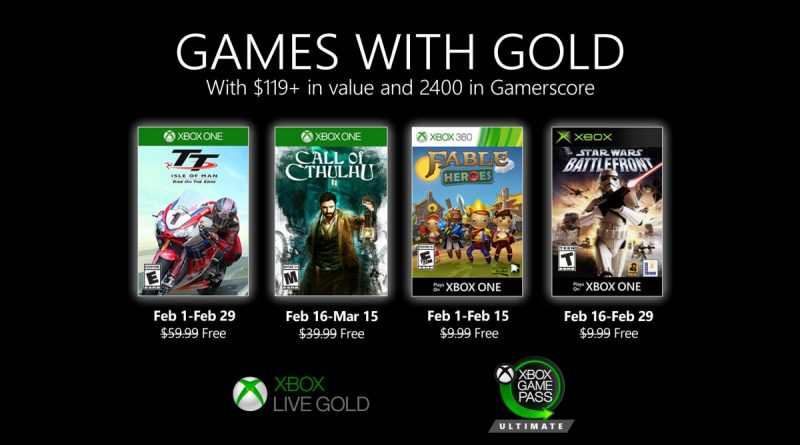 Xbox Live Gold free games for February 2020 announced